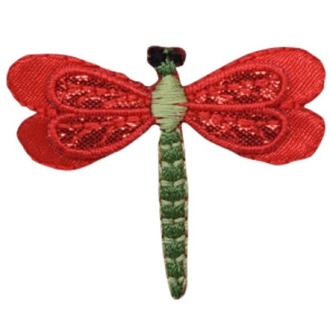 "Dragonfly Applique Patch - Red Layered Insect, Bug Badge 2"" (Iron on)"