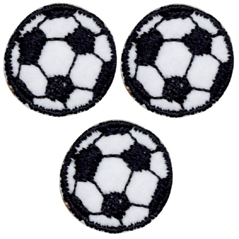 Mini Soccer Ball Futbol Applique Patch (3-Pack, Small, Iron on)
