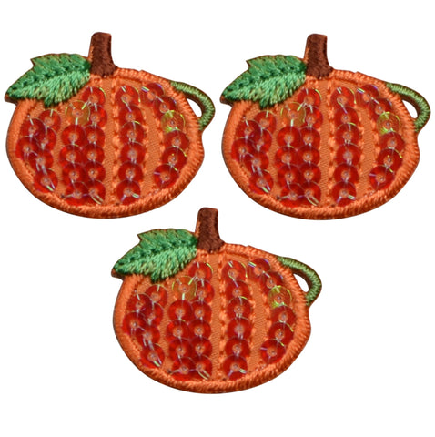 "Mini Pumpkin Applique Patch - Sequin, Halloween, Fall Badge 1"" (3-Pack, Iron on)"