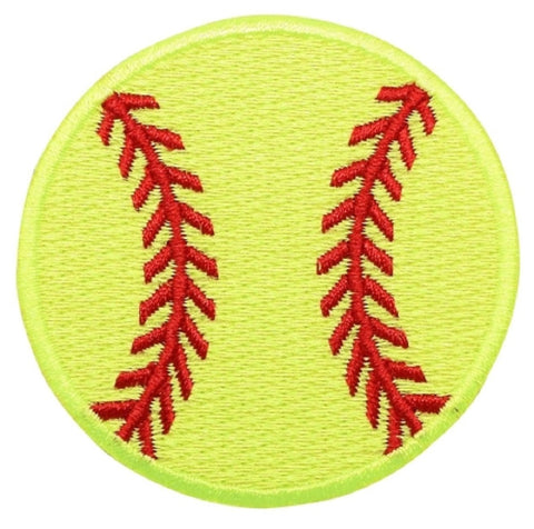 "Softball Applique Patch - Neon Yellow, Sports Badge 2.25"" (Iron on)"
