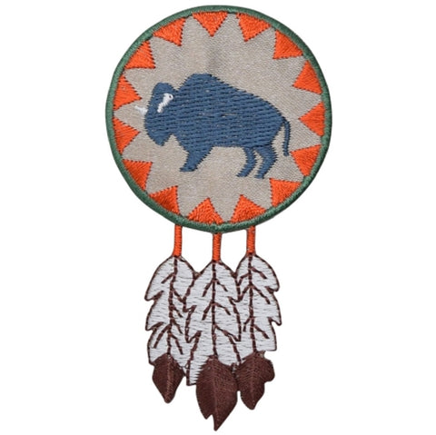 "Buffalo Applique Patch - Native American, Bison, Feathers 3.25"" (Iron on)"