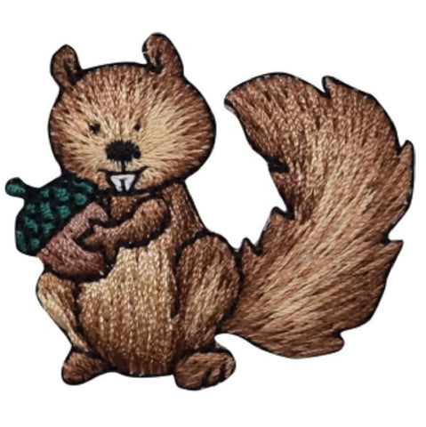 "Baby Squirrel Applique Patch - Acorn, Animal Badge 1.75"" (Iron on)"