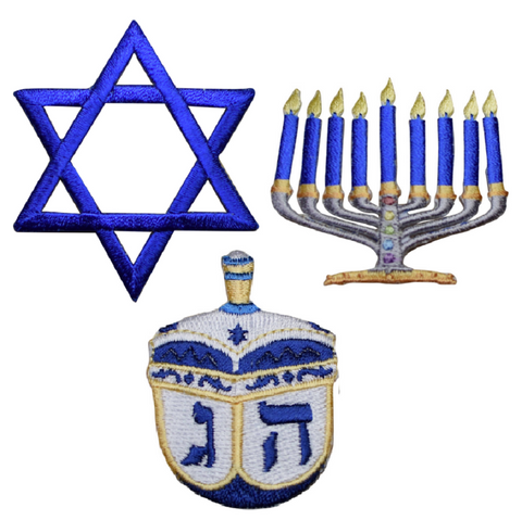 "Hanukkah Applique Patch Set - Star of David, Menorah, Dreidel 2"" (3 Pieces, Iron on)"