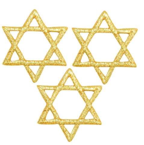"Star of David Applique Patch - Metallic Gold, Hanukkah 1"" (3-Pack, Iron on)"