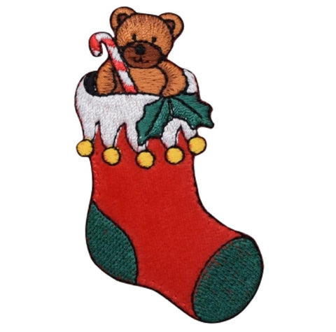 "Christmas Stocking Applique Patch - Teddy Bear, Candy Cane 3.25"" (Iron on)"