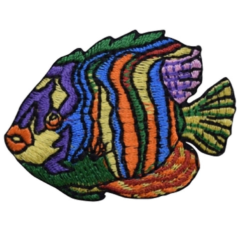 "Striped Angelfish Applique Patch - Ocean, Tropical Fish Badge 1-7/8"" (Iron on)"