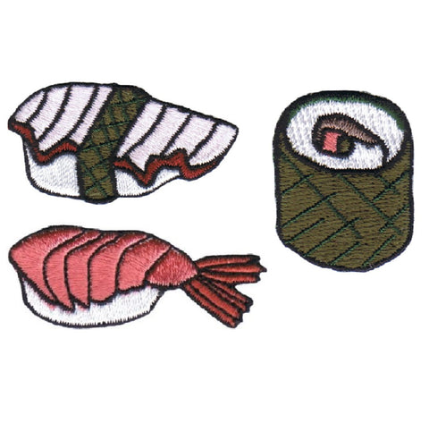 Sushi Applique Patch Set - Ebi Nigiri, Sushi Roll, Tako, Octopus, Shrimp, Crab, Rice (Iron on)