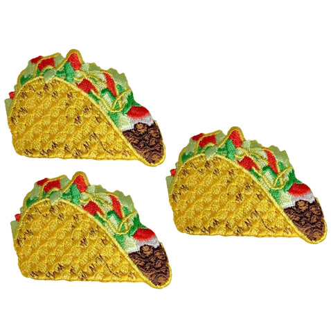 "Taco Applique Patch - Hard Shell Beef Taco, Tomatoes, Sour Cream, Lettuce, Cheese 2-1/8"" (3-Pack, Iron on)"