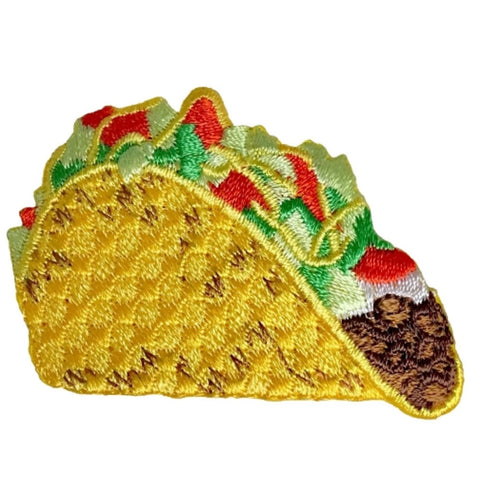 Taco Applique Patch - Hard Shell Beef Taco, Tomatoes, Sour Cream, Lettuce, Cheese (Iron on)