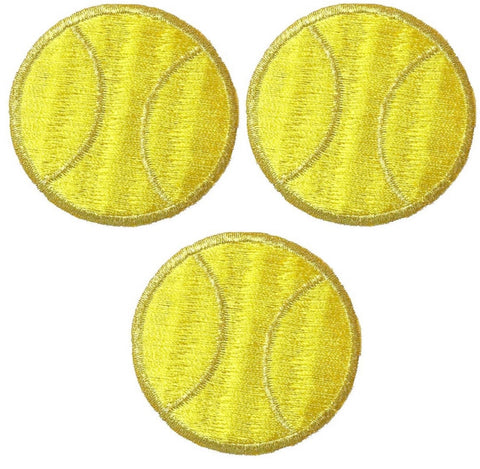 "Tennis Ball Applique Patch - Sports Badge 1"" (3-Pack, Iron on)"