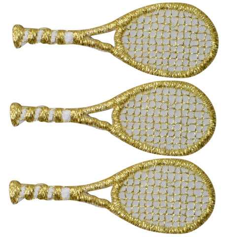 "Tennis Racket Applique Patch - Gold, Sports Badge 1.75"" (3-Pack, Iron on)"
