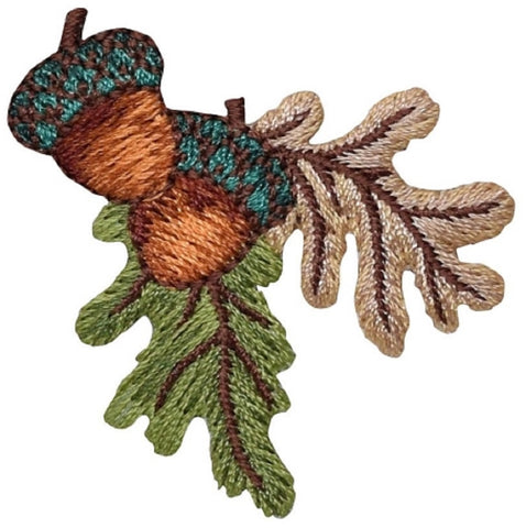 "Acorn Applique Patch - Nuts, Leaves, Oak Tree 2"" (Iron on)"