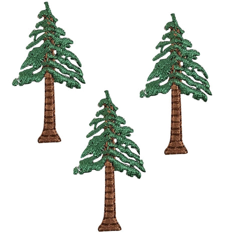 Evergreen Tree Applique Patch - Conifer, Pine, Sequoia, or Redwood (3-Pack, Small, Iron on)