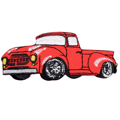 "Red Hot Rod Truck Applique Patch -  1950's Classic Hotrod 3"" (Iron on)"