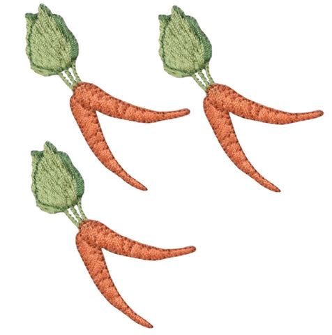 "Carrot Applique Patch - Root Vegetable Badge 2-3/8"" (3-Pack, Iron on)"