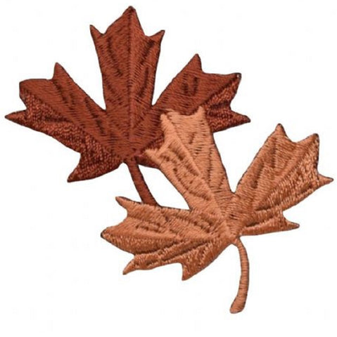 "Autumn Leaves Applique Patch - Brown Leaf Fall Badge 2.25"" (Iron on)"