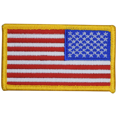 "Reverse American Flag Patch - United States, USA Right Shoulder 3-3/8"" (Iron on)"