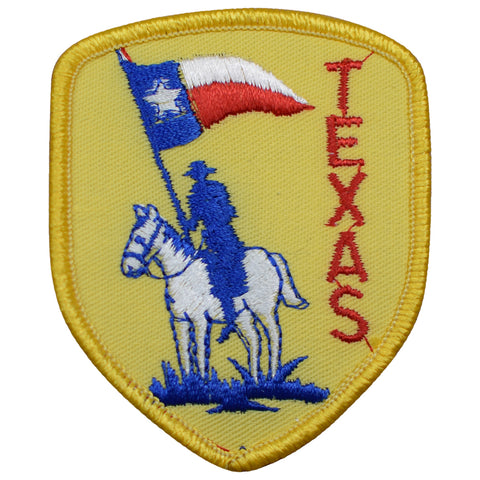 "Vintage Texas Patch - Horse, Cowboy, TX Western Badge 3-1/16"" (Sew on)"