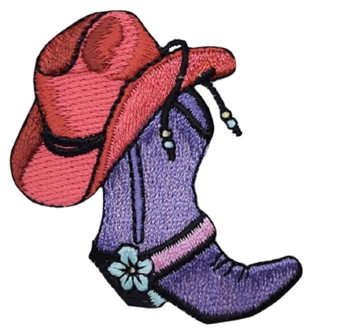 "Cowboy Boot Applique Patch - Western Hat, Flower, Rancher Badge 2.25"" (Iron on)"
