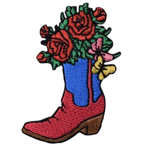 "Cowboy Boot Applique Patch - Western, Flowers, Roses Badge 2.25"" (Iron on)"