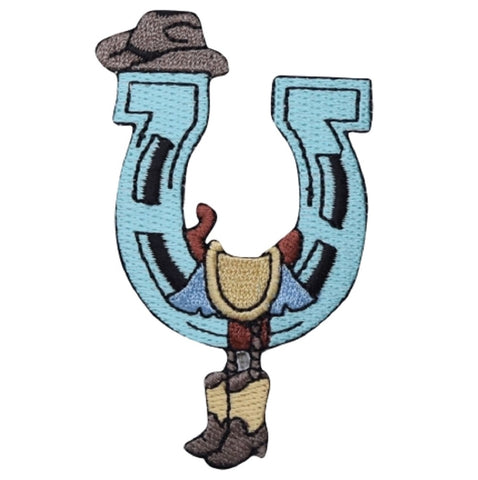 "Western Applique Patch - Horse Shoe, Cowboy Boots, Saddle 3-1/8"" (Iron on)"