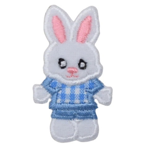 "Easter Bunny Applique Patch - Blue Rabbit Badge 2"" (Iron on)"