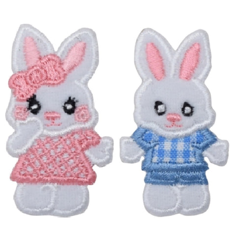 "Easter Bunny Applique Patch - Pink and Blue Rabbits 2"" (2-Pack, Iron on)"