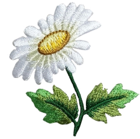"White Daisy Applique Patch - Flower, Bloom, Gardening Badge 2.25"" (Iron on)"