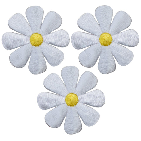 "Daisy Applique Patch - Flower, White, Yellow 2"" (3-Pack, Iron on)"