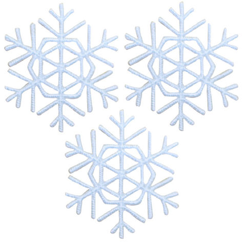 "Mini Snowflake Applique Patch - White Snow, Winter 1.25"" (3-Pack, Iron on)"