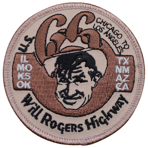 "Will Rogers Patch - Route 66, Chicago to Los Angeles 3"" (Iron on)"