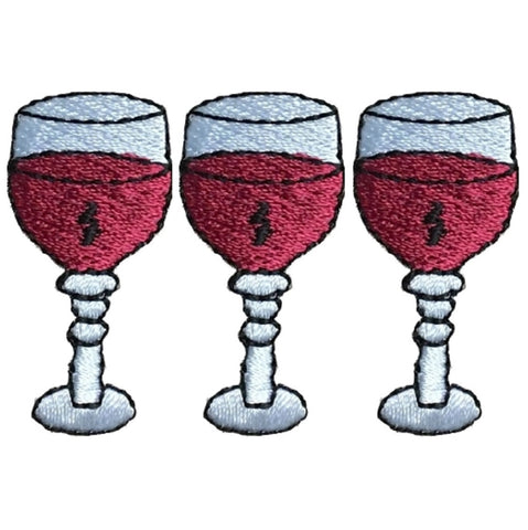 "Wine Applique Patch - Pinot Noir, Cabernet, Merlot, Zin 1.5"" (3-Pack, Iron on)"