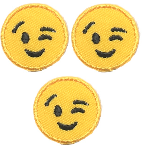 "Emoji Applique Patch - Winkling, Smiling 1"" (3-Pack, Iron on)"