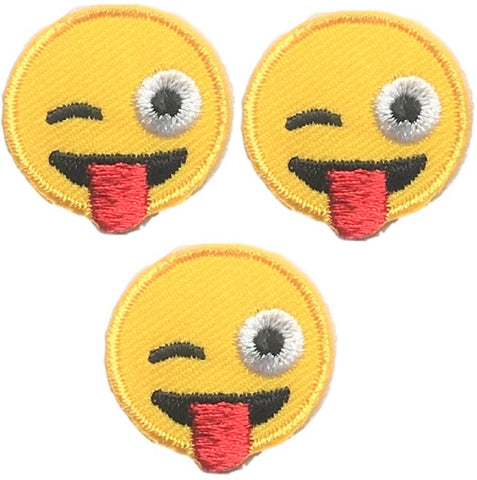 "Emoji Applique Patch - Winkling, Tongue Out 1"" (3-Pack, Iron on)"