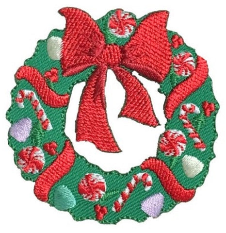 "Christmas Wreath Applique Patch - Red Bow, Candy Canes 2.25"" (Iron on)"