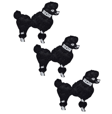 Poodle Dog Applique Patch - Black (3-Pack, Small, Iron on)