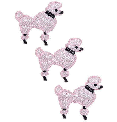 Iron on Applique//Embroidered Patch Pets Mini//Small White Dog Bone//Pink Bow
