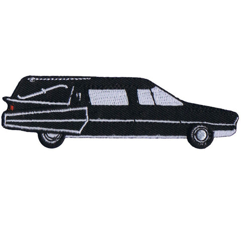 "Hearse Applique Patch - Mortuary, Funeral, Station Wagon, Car 3.75"" (Iron on)"