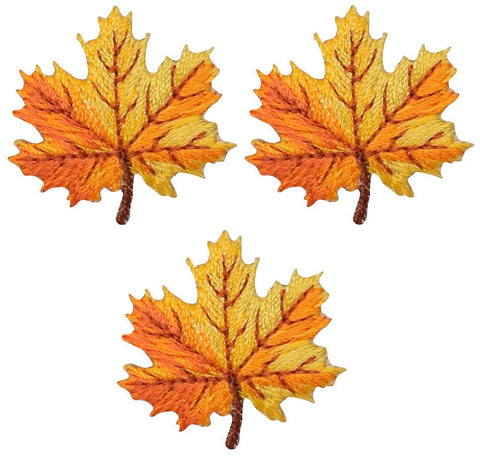 "Mini Leaf Applique Patch - Fall, Autumn, Orange Yellow 1-1/8"" (3-Pack, Iron on)"