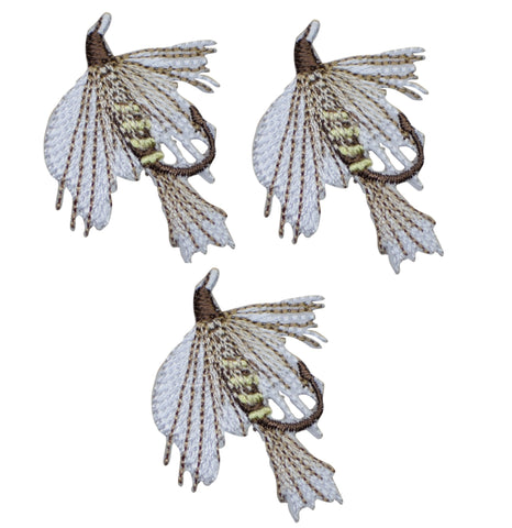 "Fly Fishing Applique Patch - Fisherman, Bait Badge 1-5/8"" (3-Pack, Iron on)"