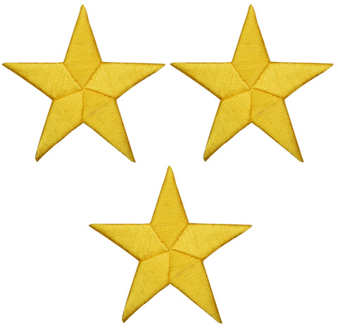 "Star Applique Patch - Yellow, Gold 2.25"" (3-Pack, Iron on)"