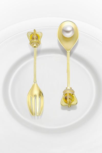 HEFANG JEWELRY Royal Tableware Series - Fork and Spoon Brooch - Empress Loves