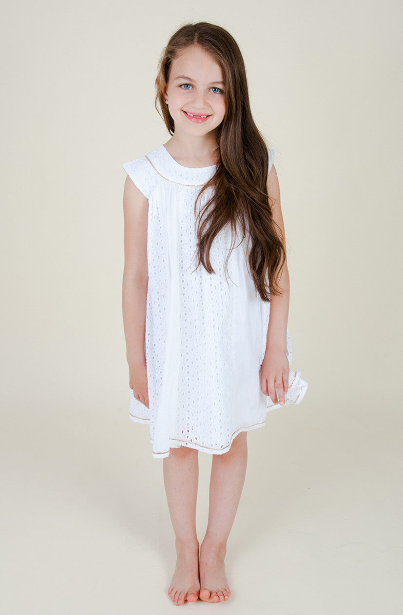 Eyelet Cotton Smock Dress