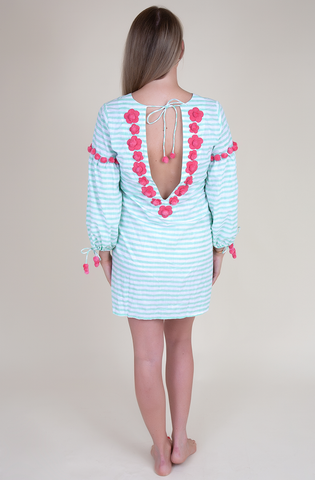 Hand block printed mint & white stripe dress (Adults)