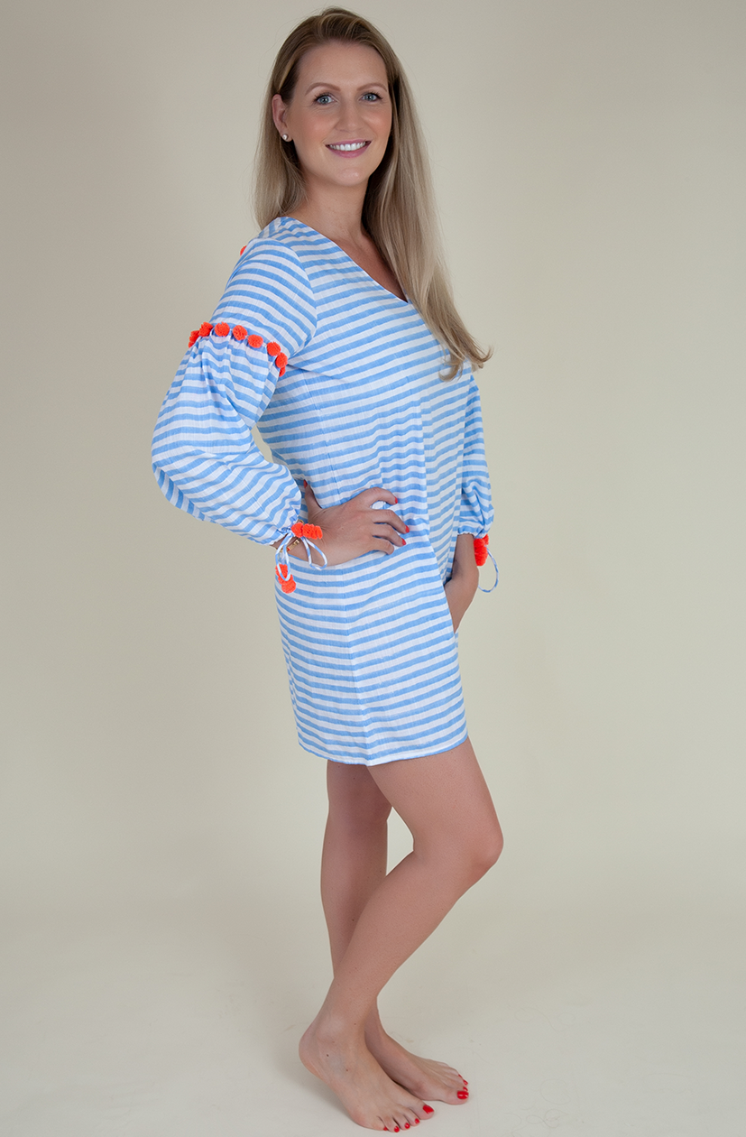 Block printed blue & white stripe dress (Adult)
