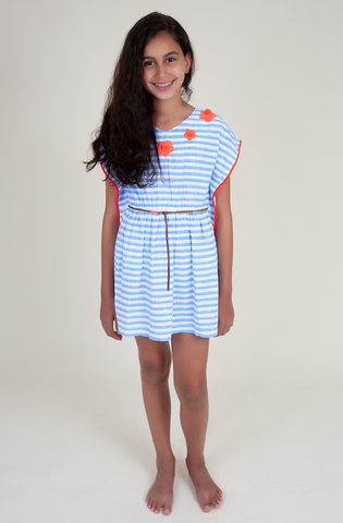 Flower cover-up in blue stripes (Kids)