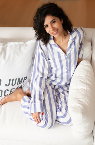 Lavender stripe pajama set with bias bound seams and cord piping