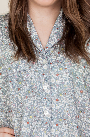 Liberty nightshirt in print June's meadow in the grey colourway