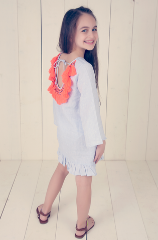 Neon Eyelet Cotton Dress