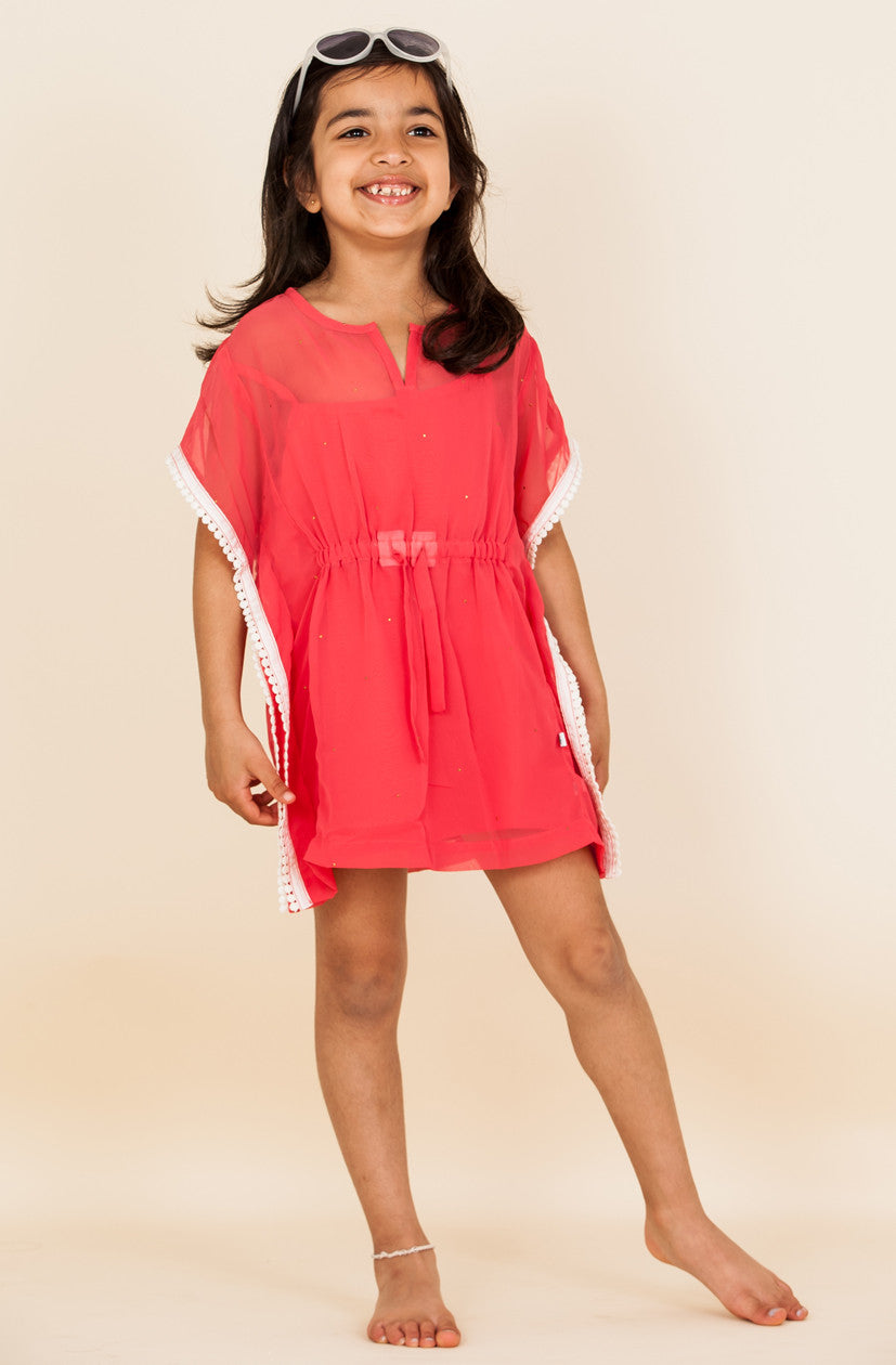 Badla Embellished Georgette Kaftan - Deep Coral (Kids)